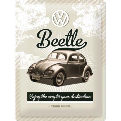 Placa metalica 30X40 VW - Retro Beetle