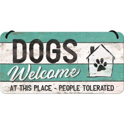 Placa metalica cu snur 10x20 Dogs welcome