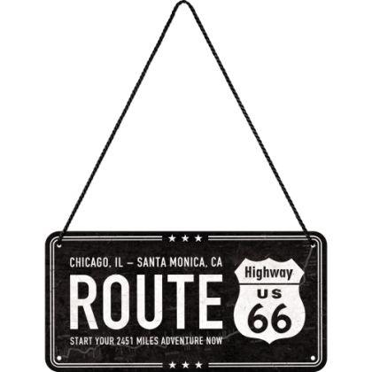 Placa metalica cu snur 10x20 Route 66
