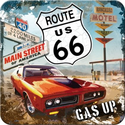 Suport pahar Route 66 Red Car Gas Up