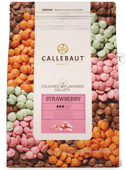 Ciocolata Alba cu aroma de Capsuni, (culoare Roz), dropsuri Callebaut Belgia la 2,5 Kg