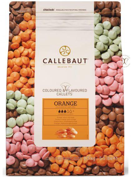 Ciocolata Alba cu aroma de Portocale (culoare Portocalie), Callebaut 2,5 Kg