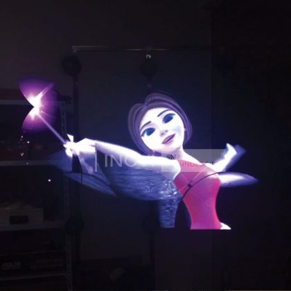 Holograma 3D LED, 60 cm, cu Wireless si SD CARD, 4 Lame, 4x168 LEDuri