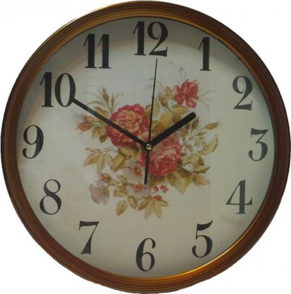 Ceas de perete  Winning, rotund, cu flori