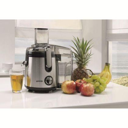 Storcator de fructe si legume Gorenje JC805EII, 800W, Recipient suc 1 l, Recipient pulpa 1.5 l, Tub de alimentare XXL, Negru/Inox