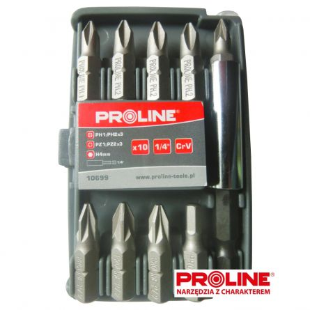 Capete șurubelnițe, Proline, 10 bucăți set, 10699