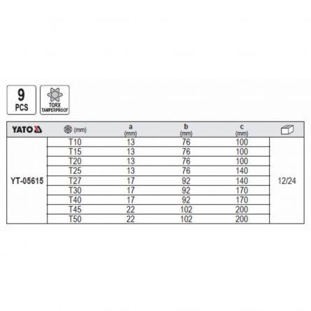 Set Chei Torx T10-T50, 9 piese, Yato