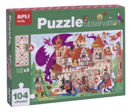 Set puzzle cu 104 piese, poster și 3 carduri de imagini - Castel