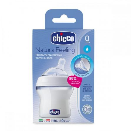 Biberon Chicco Natural Feeling, 150ml, t.s., flux normal, 0luni+, 0%BPA