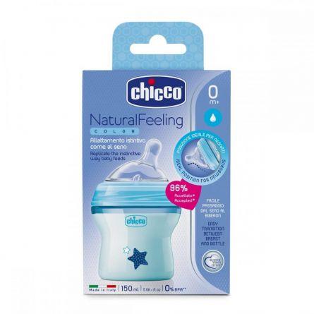 Biberon Chicco Natural Feeling, plastic, bleu, Biberon Chicco Natural Feeling, plastic, bleu, 150ml, t.s. inclinata, 0luni+, flux normal, 0%BPA