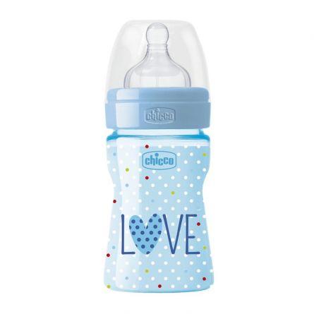 Biberon Chicco WellBeing Love Edition, PP, 150ml, tetina silicon, flux normal, Boy, 0%BPA, 0luni+
