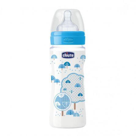 Biberon Chicco WellBeing PP, boy, 330ml, t.s., flux rapid, 4+luni, 0%BPA