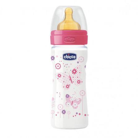 Biberon Chicco WellBeing PP, girl, 250ml, t.c., flux mediu, 2+luni, 0%BPA