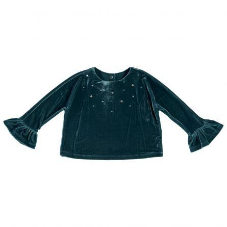 Bluza fetite Chicco, verde cu bleumarin, 122