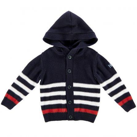 Cardigan tricotat cu gluga, copii Chicco, baieti, bleumarin cu alb si rosu, 98