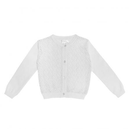 Cardigan copii Chicco, fete, alb cu dantela, 116