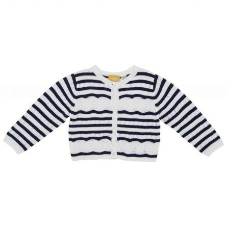 Cardigan copii Chicco, tricotat, alb cu dungi bleumarin, 104