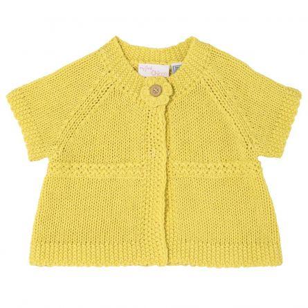 Cardigan copii Chicco, tricotat, fetite, galben, 62