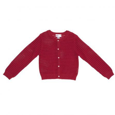 Cardigan pentru fetite Chicco, dantelat, rosu, 96353
