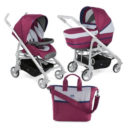 Carucior 2 in 1 Chicco Duo Love UP, carucior si landou, Red Plum, 0luni+