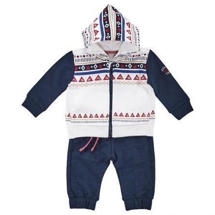Costum copii Chicco, cardigan si pantaloni, albastru cu model, 77616