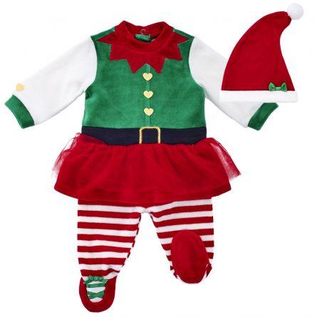 Costumas copii Chicco, pentru Craciun, rochie, colanti si scufie, verde, 62