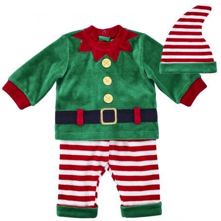Costumas copii Chicco, pentru Craciun, tricou, pantaloni si scufie, verde, 68