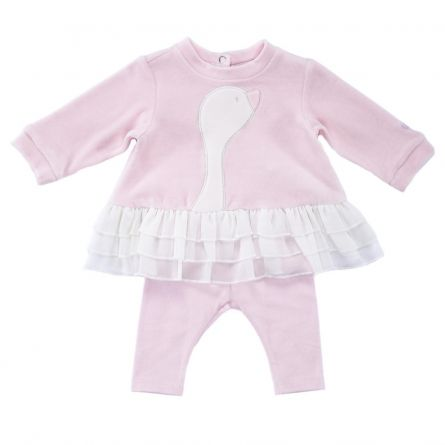 Costumas copii Chicco, rochita maneca lunga si colanti, roz, 50