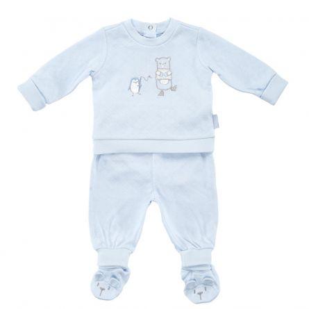 Costumas copii Chicco, tricou maneca lunga si pantaloni, albastru, 50