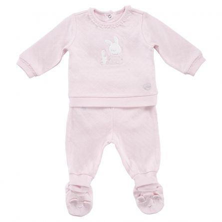 Costumas copii Chicco, tricou maneca lunga si pantaloni, roz, 56