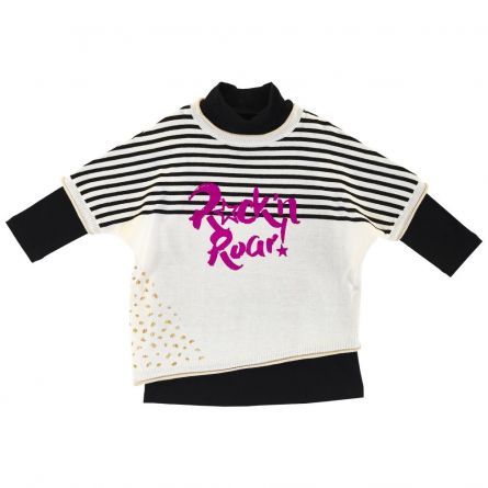 Costumas copii Chicco, tricou maneca lunga si rochie, negru cu alb, 110