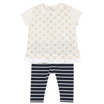 Costumas copii Chicco, tricou si colanti, fetite, alb, 77464