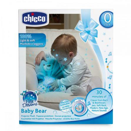 Jucarie cu proiectie Chicco Ursuletul bebelus, albastra, 0luni+