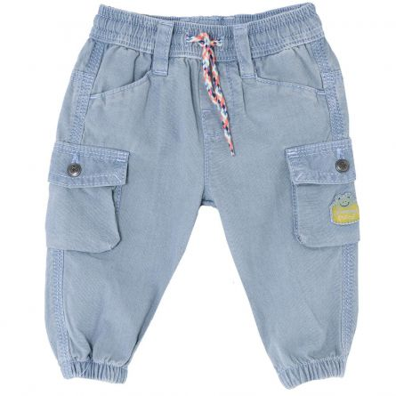 Pantalon lung copii, Chicco albastru denim, 80
