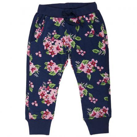 Pantalon trening copii Chicco, bleumarin cu flori ciclamen, 116