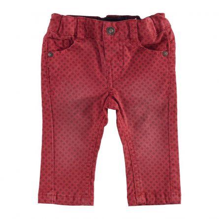 Pantaloni lungi copii Chicco, rosu cu model, 80