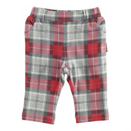 Pantaloni lungi copii Chicco, rosu cu model gri, 80