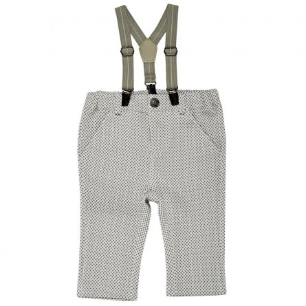 Pantaloni lungi cu bretele, copii Chicco, baieti, alb cu gri, 68