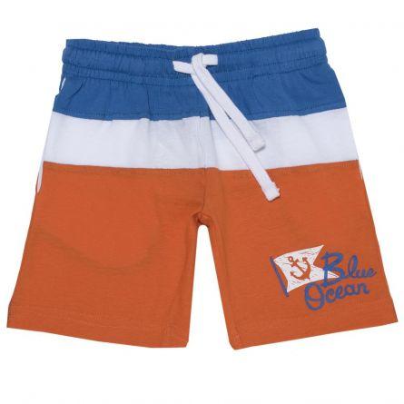 Pantaloni scurti baieti Chicco, albastru cu portocaliu, 92