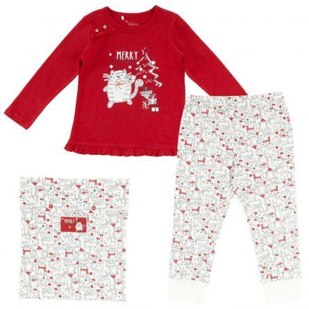 Pijama copii Chicco, maneca lunga, alb cu rosu, 116