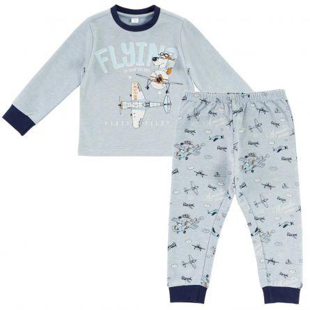 Pijama copii Chicco, maneca lunga, turcoaz, 110