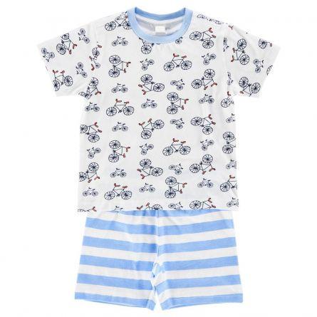 Pijama copii Chicco, maneca scurta, alb cu albastru deschis, 98