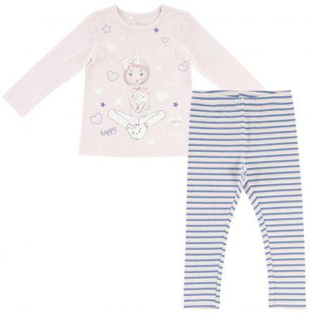 Pijama copii Chicco, tricou maneca lunga si colanti, roz, 31199