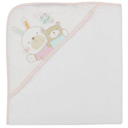 Prosop baie bebelusi Chicco, cu colt-gluga, alb cu roz, 99