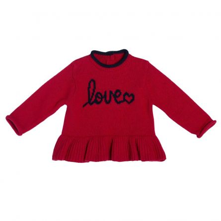 Rochita tricotata Chicco, rosu, amestec lana, 86