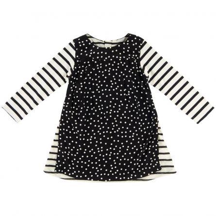 Rochie copii Chicco, maneca lunga, negru cu alb, 110