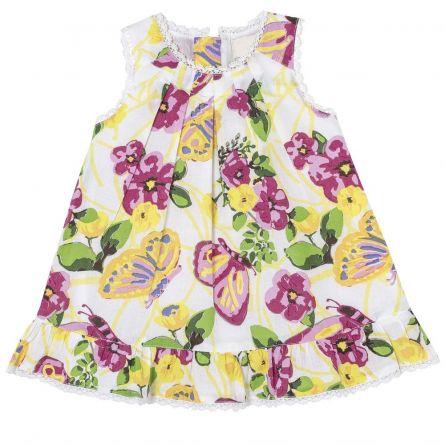 Rochie fara maneci bebelusi, Chicco, alb cu flori, 68