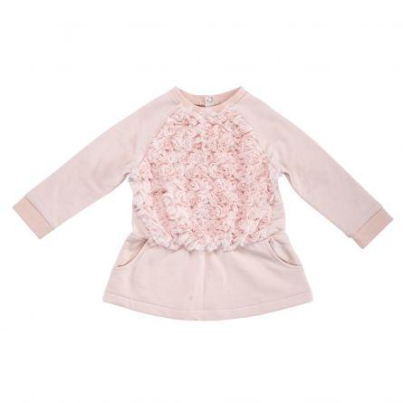 Rochie fetite Chicco, maneca lunga, roz, 74