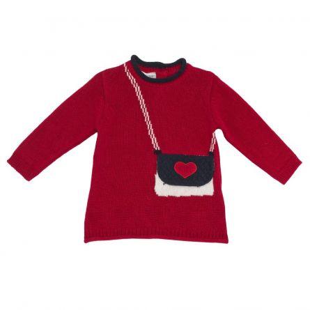 Rochie maneca lunga, tricotata,Chicco, rosu, amestec lana, 56