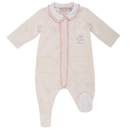 Salopeta bebelusi Chicco, cu botosei incorporati, inchidere fata, fetite, roz, 56